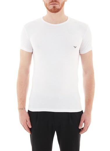 Emporio Armani  Slim Fit Bisiklet Yaka Pamuklu T Shirt Erkek T Shırt 111035 Cc735 00010 Beyaz